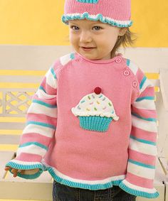 Pink Cupcake Knit Sweater - Infant & Toddler by Zubels Cute Outfits For Kids, Cute Kids, Little Boy And Girl, Pink Cupcakes, Toddler Girl, Infant Toddler, Baby Girls, Knitted Hats, Girl Outfits