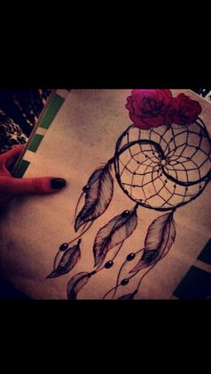 Sketch for dreamcatcher tattoo but instead of those flowers i want orchids!:)