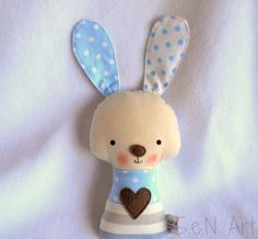 SALE Fabric Soft Baby Rattle Bunny Fabric Rattle Baby by SenArt1