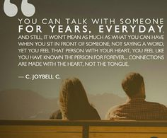 You can talk to someone for years
