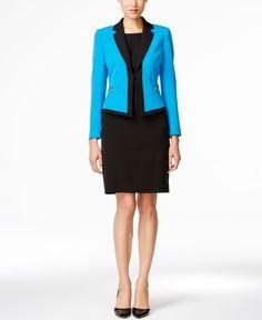 Tahari Asl Crepe Framed Crepe Skirt Suit Petite Suits, Suits For Women, Clothes For Women, Skirt Suit Set, Crepe Skirts, Suit Shop, Tailored Suits, New Blue, Work Wear