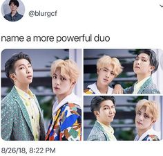 Namjin, so yep, there's no other powerful duo than this.>> Bonnie and Clyde>> Bacon and Eggs>> My fist and my enemies>> Wang Gae Park Gae>> Maknae line of and Maknae like of Stray kids>> Y'all weird. Namjin, Bts Memes Hilarious, Funny, Cypher Pt 4, E Dawn, Fandom, I Love Bts, About Bts, Bulletproof Boy Scouts