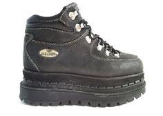 Early Mega Platform Black Leather Sneaker Boot 9 by GothSpring Black Leather Sneakers, Black Leather Ankle Boots, Black Boots, Goth Shoes, Kid Shoes, Black Mary Jane Shoes, Barbie Shoes, Denim Boots, Dream Shoes