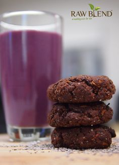 A delicious ALMOND CHIA CHOC COOKIE. For the recipe visit our website!    http://www.rawblend.com.au/almond-chia-choc-cookies.html  #almonds #superfoods #chiaseeds #vitamix #cacao