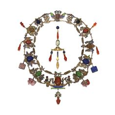 Egyptian-Revival Gold-Plated Silver, Colored Stone & Enamel Necklace, Émile Philippe, Paris, circa 1878 - Composed of carved scarabs of lapis lazuli, carnelian, agate, jasper & green chalcedony, the reverses engraved with false hieroglyphs, mounted on gilt silver links, of various ancient Egyptian iconography, enhanced by multi-colored champlevé enamel, the large central link of boat & temple pylon motif accented by two cabochon garnets; the pendants of carved heart...
