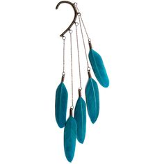 Anni Jurgenson Ear Cuff With Blue Feathers, American Indian Style -... ($50) ❤ liked on Polyvore featuring jewelry, earrings, accessories, teal, blue dangle earrings, native american jewelry, dangle feather earrings, blue earrings and feather earrings