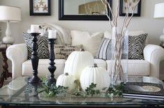 White pumpkins coastal home fall decor