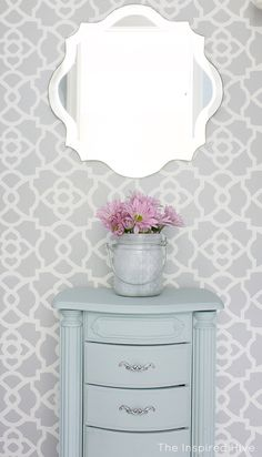 Stenciled master bed
