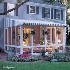 How to Build a Screened In Patio: Love your patio but hate the bugs, wind and glaring sun? Our screened-in, post and beam patio enclosure with removable awning top solves it all.