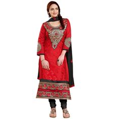 Eid Special Designer Red & Black Unstitched Straight Churidar Suit-3(ST-Esha Glory)
