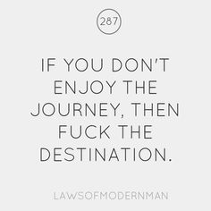 If you don't enjoy the journey, then fuck the destination. - Laws of Modern Man