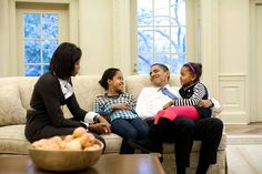 President Obama  President Obama, Michelle Obama and daughters Malia and Sasha in the Oval Office. (Official White House Photo by Pete Souza)