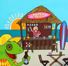 Beachbar#Bonbini#Curacao#Sunset#Mirjamgriffioen#happyart#colorful#iguana