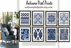 Paisley Ikat Damask Navy Blue Prints, (8) 8x10 Prints, Custom Colors Sizes Available, Custom Colors Available on Etsy, $80.00