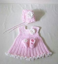 Crochet dress with shoes and hat