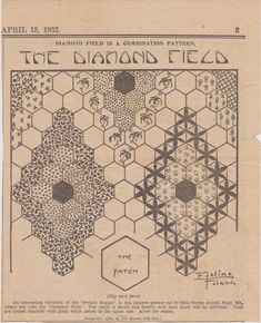 The Diamond Field quilt pattern from The Weekly Kansas City Star April 13, 1932. We see this everywhere these days! What's new.