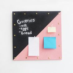 This Gold-Trimmed Chalkboard Corkboard Organizer has your office organization needs covered!