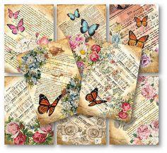 Spring flowers & butterflies scrapbooking Tags