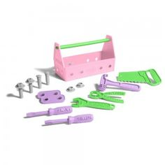 Pink Tool Set  No job is too big for the world's most environmentally friendly tool kit! This awesome 15 piece set includes a tool box, phillips screwdriver, flat screwdriver, hammer, saw, wrench, pliers, 2 two-hole connectors, 2 nails, 2 bolts, and 2 nuts. The Green Toys™ Tool Kit turns work into Good Green Fun™!