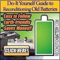 DIY Battery Reconditioning - Recondition Battery GUESS WHAT!? You can now recondition your old batteries at home and bring them back to 100% of their working condition. Whether you have a dead laptop battery, car battery or just about any other commonly used battery I can show you how to easily bring it back to life. Have you ever tried... #Batteries, #Battery, #Recondition, #ReconditionBattery, #ReconditionBatteryBook, #ReconditionBatteryDownload, #ReconditionBatteryReview Save Money ...