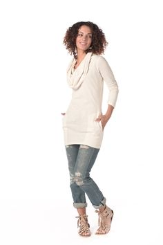 Cowlneck Tunic in Cream