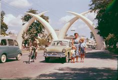 The tusks were constructed in 1956 to commemorate a visit by Princess Margaret. The tusks represent the letter M Special Pictures, Old Pictures, Old Photos, Nairobi City, Mombasa Kenya, Out Of Africa, East Africa, Rare Historical Photos, African Royalty