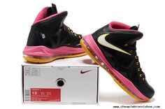 the best attitude 1bfec 517c7 Nike Lebron 10 X Black Pink Yellow 541100 100 Authentic Lebron Shoes For  Sale, Pink