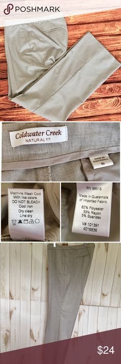 """Tan Coldwater Creek Natural Fit DressPants•Size 16 Beautiful pair of tan dress pants by Coldwater Creek.  SIZE 16. These pants are part of Natural Fit collection. 36"""" waist, 31"""" Inseam, 11"""" front rise, 17"""" back rise, 11"""" leg opening.  62% polyester, 33% Rayon and 5% Spandex. Machine wash cold.  Belt loops. Faux pockets.  No Issues. SMOKE FREE HOME Shop my closet and bundle to save on shipping Coldwater Creek Pants Trousers"""