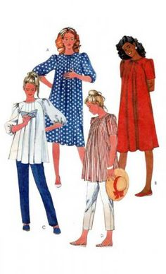 McCall's 8879 UNCUT Sewing Pattern Vintage Maternity Dress or Top and Pants Sewing Pattern; Dress or top has back zipper opening, bound nec Maternity Patterns, Vintage Sewing Patterns, Maternity Dresses, Short Sleeves, Bows, Pants, Women, Products, Fashion