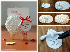 DIY Lamb Notes Holder Using Cotton Swabs » Home Best Project