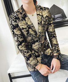 b427d278e42c3 OUYE Men s Golden Single Breasted 2 Button Sport Coat at Amazon Men s  Clothing store