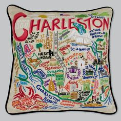 Charleston Embroidered Pillow by Catstudio