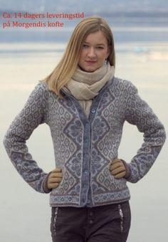 Morgendis kofte Yarn Shop, Mantel, Knitting Patterns, Knit Crochet, Turtle Neck, Sweaters, Cardigans, Color, Shopping