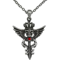 Carolina Glamour Collection CGC Pewter Winged Skull with Crown Pendant... (€22) ❤ liked on Polyvore featuring jewelry, necklaces, silver, wing necklace, silver skull necklace, silver pendant necklace, red necklace and red chain necklace