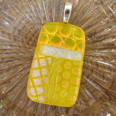 Yellow Dichroic Fused Glass Pendant DIchoric Jewelry by GlassCat, $22.50