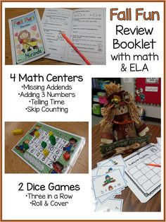 Fall math centers, dice games, and review booklet with math and language arts for second grade
