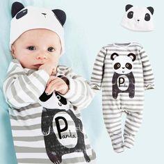 b9a067c04 Winter Autumn Cute Cartoon Tiger Lion Panda Baby Rompers + Hat  Longdresskily Roupas De Nenem,