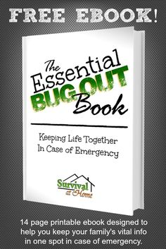 "I am so excited that my first eBook ""The Essential Bug-Out Book"" is now available! …and it's FREE! The 14-page printable eBook is designed to help you keep your family's vital information in one spot in case of emergency."