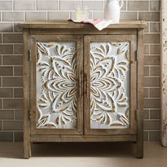 Rustic Decorating - Galvanized metal floral-embossed panels stand out against the distressed finish. Come Home to Comfortable Living Through the Country Door! Refurbished Furniture, Paint Furniture, Repurposed Furniture, Furniture Makeover, Living Room Furniture, Home Furniture, Pet Bottle, French Country Decorating, Family Room