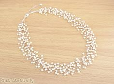 White freshwater pearl necklace on silk thread by CuteActually, $32.00
