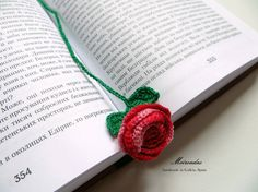 This crochet bookmark will save the pages of your favorite books and will add even more beauty and pleasure to reading!  Great as gift: this Rose bookmark will remind about you while your friend will be reading. Made with love of high quality Spanish cotton yarn.  Would like a different color? Convo me and Ill be happy to make it for you!  If you have any question, please feel free to contact me