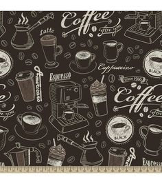 Anti-Pill Fleece Fabric-Chalkboard Coffee Brown Cofee Shop, Coffee Shop Bar, Coffee Carts, Coffee Shop Design, Coffee Chalkboard, Blackboard Art, Coffee Trailer, Fleece Crafts, White Coffee Cups