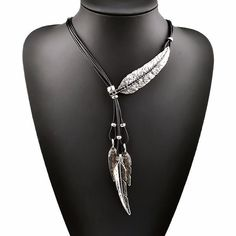 Bohemian Style Black Rope Chain Leaf Feather Pattern Necklace