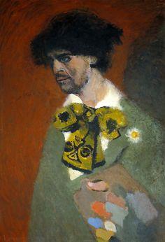 """Lorenzo Viani, """"Autoritratto"""", 1911-1912 ca, olio su cartone applicato su compensato, cm 98x67,  Firenze, Galleria d'Arte Moderna."""