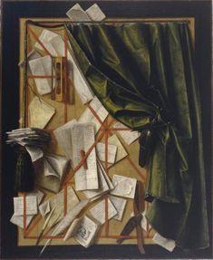 Trompe-l'oeil: brievenbord met zandloper, scheermes en schaar - Cornelis Norbertus Gijsbrechts - 1664