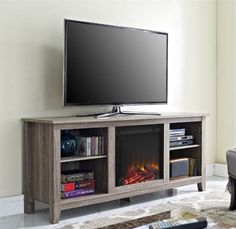 58 in. TV Stand in Driftwood Finish
