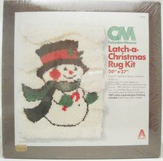 Fast & easy kit! #Snowman #Holiday rug or wall hanging!   Visit me on Facebook and Twitter @DonnasStuffMore