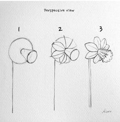 Flower Art Drawing, Flower Drawing Tutorials, Flower Sketches, Watercolor Drawing, Flower Drawings, Pencil Drawings, Drawing Skills, Drawing Techniques, Drawing Poses