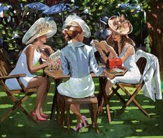 """New from Sherree Valentine Daines, Summer Conversation, Image Size 26 x 22"""", £775, Embellished Canvas"""