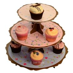 3 Tier Floral Tea Party Cupcake Stand